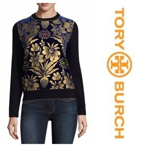 Tory Burch Velvet Jacquared Blue Sweater Sz S